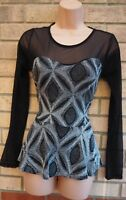 IN STYLE SILVER GLITTER BLACK MESH LONG SLEEVE PEPLUM PARTY BLOUSE T SHIRT TOP M