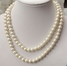 Long 36 inches 8mm white South Sea Shell Pearl round beads necklace AAA