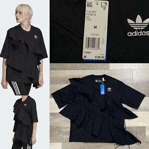 Adidas X J KOO Frilled Relaxed Fit Designer T-Shirt FT9878 NWT! Woman's Size M