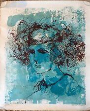 Robert E Sargent Original Signed Serigraph Lithograph 127/150 Blue Woman