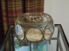 "Matson Round Casket Trinket Box Filigree Ormolu Beveled Glass 7 Sides Roses 8""W"