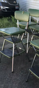 Vintage Cosco Step Stool Flip Out Step Pull Out Steps Green As Is