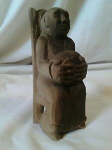 """Vintage Hand Carved Wood Folk Art CREEPY OLD WOMAN In Chair Oversized Hands 5"""""""