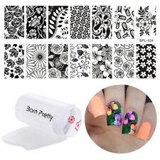 3Stk/Set Nagel Stamping Schablonen Stempel Platte Jelly Stamper Set Blumen Tool