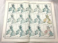 1899 Antique Map of Great Britain British Isles Meteorological Isobars Isohyets