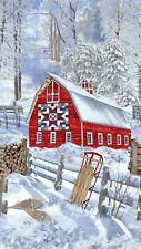 Fabric Timeless Treasures Snow Country Red Barn Quilt Holiday Panel