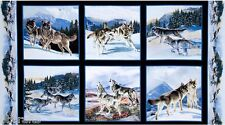 6 BEAUTIFUL WILDLIFE PANELS WOLF WOLVES RUNNING FOR QUILTS HOME DECOR