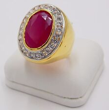 MEN RING RED RUBY 24K YELLOW GOLD FILLED GP SOLITAIRE OVAL HUGE DRESS SIZE 9.25