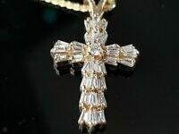 1.20 Ct Round Baguette Cut Diamond Cross Pendant Necklaces 14k Yellow Gold Over