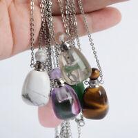 Multi-Kind Gemstone Healing Perfume Bottle Stone Crystal Diffuser Necklace Reiki