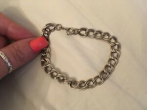 """AW2, vintage 925 Sterling Silver 30""""  Solid double bracelet Chain   14.5 grams"""