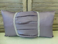 Silver grey pleated rhinestone rectangular cushion cover
