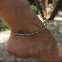 Turquoise Beads Ankle Bracelet Foot Silver Chain Anklet Jewellery