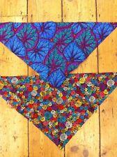 Pair of multi coloured spiral and purple blue leaf design dog bandanas