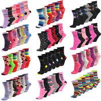 6 Pairs Ladies Womens Girls Coloured Ankle Socks Novelty Design Designer Adults