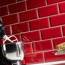 Sample of gloss red metro bevelled edge ceramic wall tiles 10 x 20cm