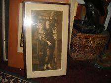 Antique Art Deco Print Of Woman Holding Flowers-Signed-Edward Burne Jones-HOPE