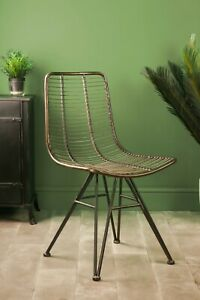Retro Home Office Chair Industrial Style Metal Vintage Dining Room Wire Seat