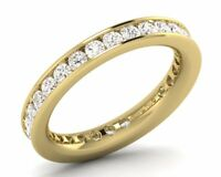 3MM & 1.00CT Round Brilliant Cut Diamond Eternity Wedding Ring, 18K Yellow Gold