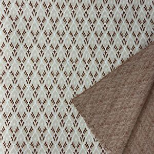 "Vintage Double Knit Fabric 1970's Brown Tan Geometric Diamond 1 2/3 yd x 63"""