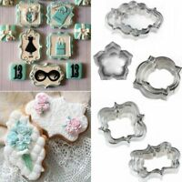 4PCS Stainless Steel Fancy Plaque Frame Fondant Cake Mold Mould Cookie Cutter