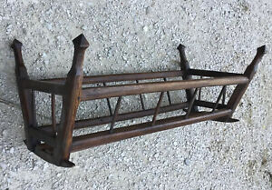 ANTIQUE French Wood Crib Cradle Moses BABY Bed CARRIER BASSINET Dolls Bear 1800s