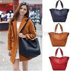 US 2Pcs Women Genuine Leather Shopper Lady Purse Handbag Shoulder Tote Bag Purse