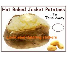 2 Small Plain  jacket potato vinyl catering stickers cafe takeaway Fast Food Van