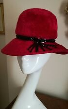 Authentic Christian Dior Chapeaux Vintage Red Dress Hat Black Beads Fabulous!
