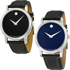 Movado Museum Black Dial Black Leather Strap Mens Watch