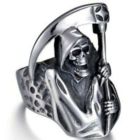 Men Punk Party Rugged Skull Ring Personality Retro Death Sickle Domineering Ring