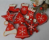 Set 9 Wooden Red White Shabby Christmas Tree Decorations Stocking Star Snowflake