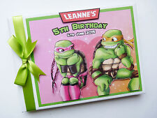 PERSONALISED NINJA TURTLES  BOY/GIRL FIRST/1ST BIRTHDAY GUEST BOOK ANY DESIGN