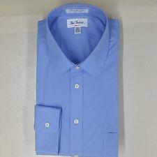 "PAUL FREDRICK New Blue Club Collar Shirt 2 Ply 100% Cotton 17""x 34""  Slim Fit"