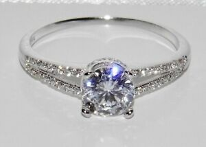 9ct White Gold 0.75ct Solitaire Engagement Ring size L - UK Hallmarked