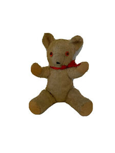 Antique Vintage Stuffed Plush Brown Teddy Bear Googly Eyes Homemade