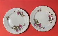 "Vintage Pair Of Royal Rose Fine China Salad Plates Made In Japan 7 1/2 """