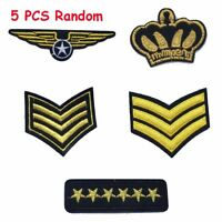 5 pcs Garment Army Badge Sewing Applique Military Rank Embroidered Patch