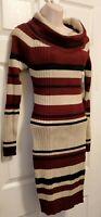Juniors Large Burgundy Striped Ribbed Sweater Dress No Boundaries Stretch NEW