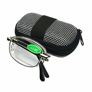 Two way Foldable Reading Glasses  Carrying Case Men Women Unisex 1.0 Strength