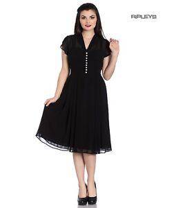 Hell Bunny 40s 50s Elegant Pin Up Dress PAIGE Black Chiffon All Sizes