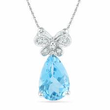 10k White Gold Womens Pear Lab-Created Blue Topaz Butterfly Bug Diamond Pendant