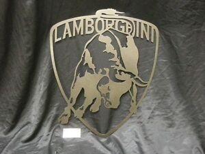 Lamborghini Badge 25 inch steel sign. Metal wall art.