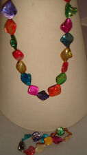 Lovely  Mother of Pearl  Necklace & Bracelet Set In Multi-coloured Free Earrings