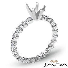 Pear Semi Mount Fine Diamond Engagement Bar Setting Ring 14k White Gold 0.4Ct