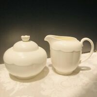 Villeroy Boch Mettlach White Bone China Sugar Creamer Set Cottage Porcelain