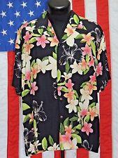Rare VTG Two 2 Palms Rayon Hawaiian Hawaii Aloha LG Tiki Tropical Shirt Laua EUC