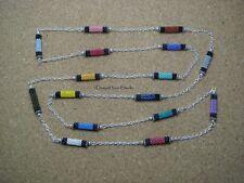 Peyote Tubes and Chain Long Necklace - Handwoven Miyuki Beads - Art Deco Style