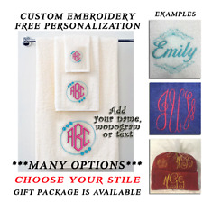 3 Piece Towel Set with Custom Embroidery Personalized with Name or Monogram Gift