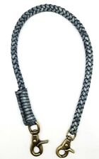 Biker chain gray braided leather Heavy Duty Trucker wallets brass made in USA